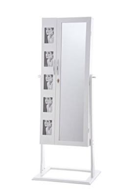 CLP Schmuckschrank Standspiegel BONITA, Bilderrahmen integriert, viele Steckplätze + Haken für Schmuck & Accessoires weiß -