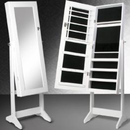 Miadomodo Schmuckschrank Standspiegel Spiegelschrank Schmuckregal mit Spiegel und Schlüssel in Weiß -