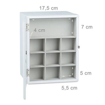 Relaxdays Schmuckkästchen mit 2 Schubladen HxBxT: ca. 17 x 25,5 x 21 cm edler Schmuckkasten mit Sichtfenster und 2 großen Schubfächern Schatulle zur Schmuckaufbewahrung Schmuckschrank aus Holz, weiß -