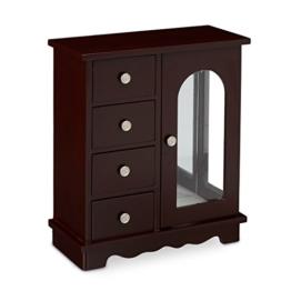 Relaxdays Schmuckkästchen mit Tür HxBxT: ca. 30 x 26 x 11 cm großer Schmuckkasten mit 4 Fächern Schmuckschrank aus Holz mit Schubladen und Spiegel Schränkchen mit Schmuckhalter für Ketten, dunkelbraun -