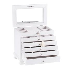 ROWLING Schmuckkasten Holz Schmuckkoffer schmuckschrank mit 5 Schubladen Schmuckkästchen Schatulle MG0160 (weiß) -