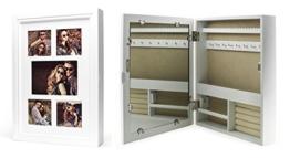 Schmuckkasten Fotorahmen Bilderrahmen Spiegel in weiß für 5 Fotos - 45x32x7cm Schmuckaufbewahrung Dekoration Deko Ringhalter Schmuckschrank Fotogalerie Collage Fotocollage -