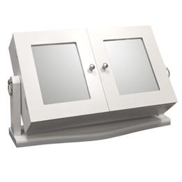Schmuckschrank, 2 Spiegel, schwenkbar, 37x23x10cm, MDF weiß lackiert - Schmuckkasten Schmuckkästchen Schmuckkommode Schmuck -