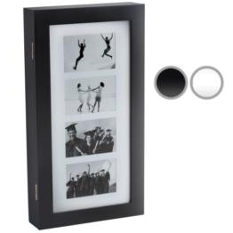 Schmuckschrank Schrank Wandschrank mit Bilderrahmen Collage für 4 Fotos in weiß oder schwarz -