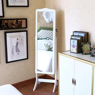 Songmics 158 x 41 x 38 cm Schmuckschrank Weiß für Ketten Ringe Ohrringe JBC82W -