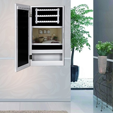 Songmics 56 x 31 x 10 cm Schmuckschrank Wandspiegel mit Bilderrahmen (Weiß) JBC59W -
