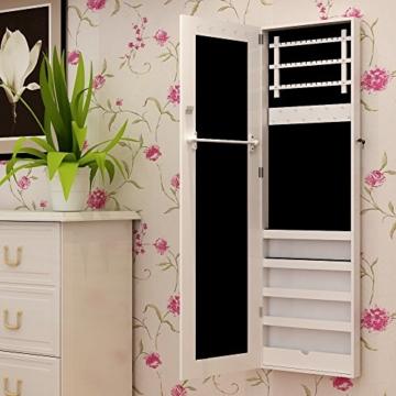 Songmics JBC24W Schmuckschrank und Wandspiegel zwei in einem, weiß, 36 x 120 x 9,5 cm -