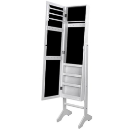 Songmics JBC77W Schmuckschrank und Standspiegel zwei in einem, weiß, 35,5 x 153 x 35 cm -