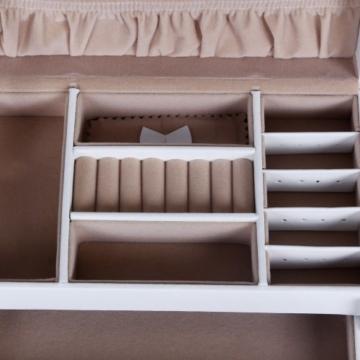 Songmics Schmuckkästchen abschließbar mit spiegel Schublade und Mini-Box (Weiß) JBC126W -