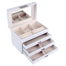 Songmics Schmuckkasten Schmuckkoffer abschließbar 4 Ebenen mit 3 Schubladen mit Spiegel weiß JBC131W -