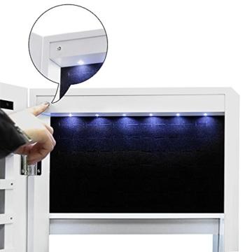 Songmics Schmuckschrank 2 Montagearten Türmontage/Wandmontage abschließbar mit LED Beleuchtung JBC97W -