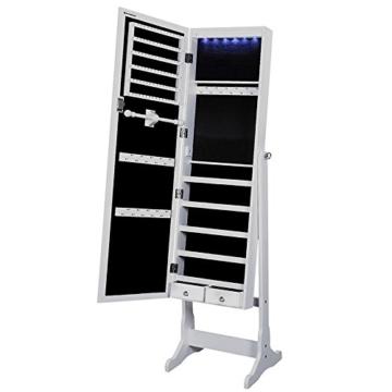 Songmics Schmuckschrank Spiegelschrank abschließbar mit LED Beleuchtung 154 cm hoch JBC94W -