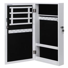 Songmics Schmuckschrank Wandspiegel zum Hängen mit Tür und Magnetverschluss weiß JBC51W -