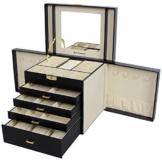 Songmics XXL Schmuckkästchen Uhrenbox 5 Schichten mit 4 Schubladen abschließbar mit spiegel schwarz JBC217 -