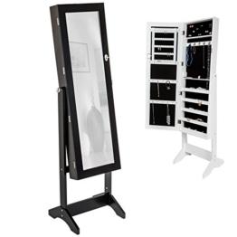 TecTake Luxus Spiegelschmuckschrank mit extra großem Spiegel (Schwarz) -