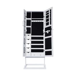 Topgoods 150 x 56 x 44 cm Abschließbar Weiß Spiegelschrank - Doppeltür mit Fotorahmen Design - Schmuckschrank und Standspiegel Zwei in einem -