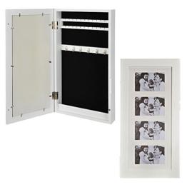Wand-Schmuckkasten mit Bilderrahmen Holz weiß 60 x 30 x 9 cm | 2 Leisten für Ohrringe | 1 Leisten mit Haken | 1 Längsfach -